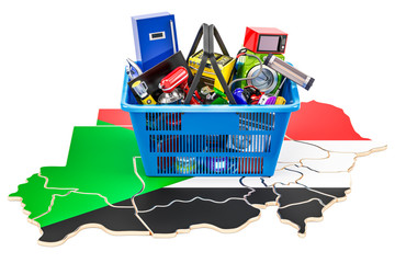 Map of Sudan with shopping basket full of home and kitchen appliances, 3D rendering