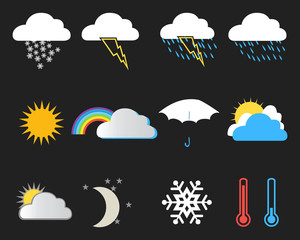 Set of weather icons on a black background