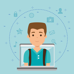 young man in workplace vector illustration design