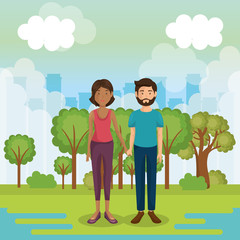 parents couple outside in landscape vector illustration design