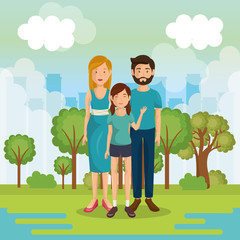 family members outside in landscape vector illustration design
