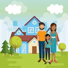 family members outside of the house vector illustration design