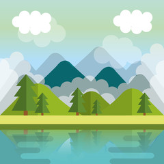 landscape with mountains and lake scene vector illustration design