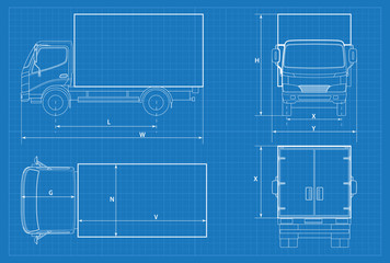 Search photos schematic delivery truck schematic or van car blueprint vector illustration truck car in outline malvernweather Image collections
