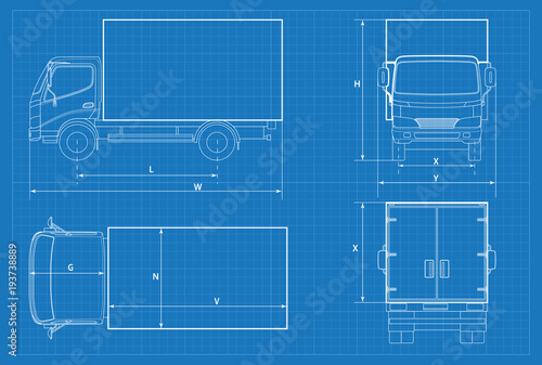 Delivery truck schematic or van car blueprint vector illustration delivery truck schematic or van car blueprint vector illustration truck car in outline malvernweather Gallery