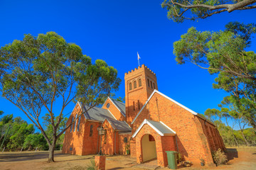The Anglican Church of the Holy Trinity in Victorian Romanesque style in York, a popular tourist town east of Perth, Avon Valley. York is the oldest and first inland settlement in Western Australia.