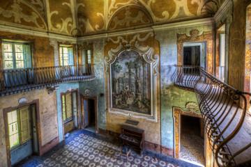 TOSCANY, ITALY - 15 MAY 2014: Abandoned villa Sbertoli - entrance hall, Toscany, Italy