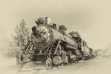 The Old Train in Vintage Style