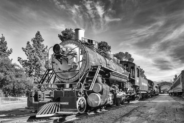 The Old Train in Black and White