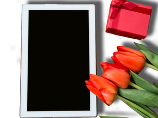 Red tulips and ipad mockup, greeting card for Easter, Women's Day, Mother's Day