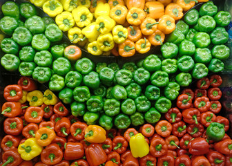Yellow, orange, red, and green bell peppers produce display.