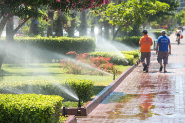 Automated watering system in the Park.