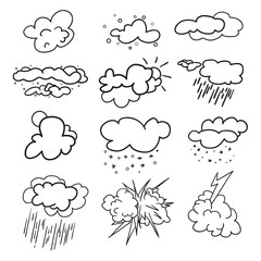 Weather elements on isolation background. Collection. Doodles for design. Hand drawn simple symbols. Line art. Set of different signs. Abstract illustration for a weather forecast. Art creation
