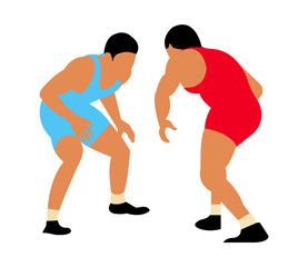 Two greco roman wrestlers illustration