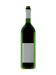 Wine bottle with white label on isolated white background. 3D Illustration