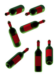 Wine bottles in different direction rendered on isolated white background. 3D Illustration