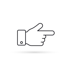 Forefinger outline icon, Vector isolated simple flat line symbol