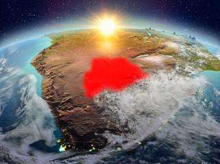 Botswana from space in sunrise