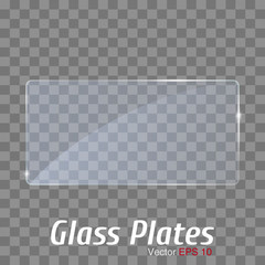 Blue Glass plate frame. Isolated on transparent background.
