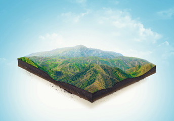 Isolated a cross section of ground with mountains and meadows. 3d illustration Wall mural