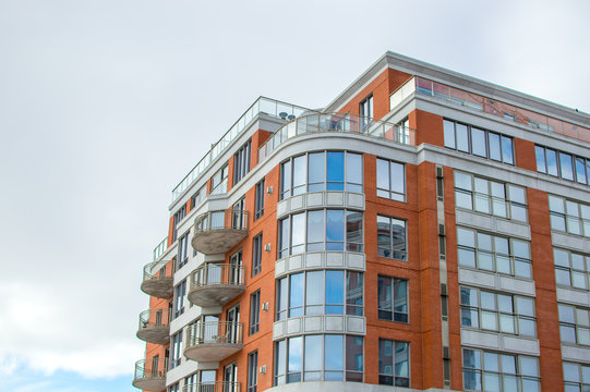 Modern condo buildings with huge windows and balconies in Montreal, Canada