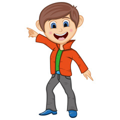 Boy Dancing cartoon with hands up and down