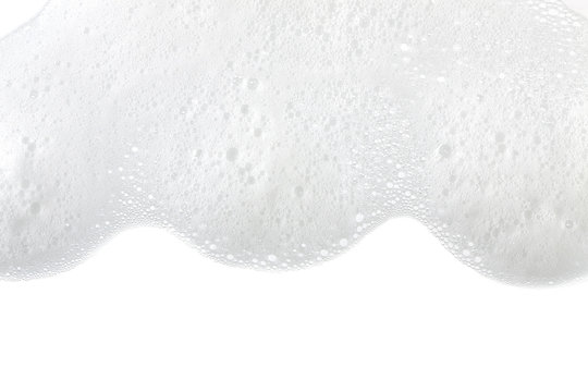 Foam bubbles abstract white background. Detergent
