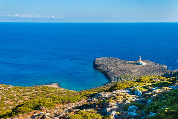 Lighthouse of Cape Apolytaras south of Antikythera island, one of the oldest lighthouses in Greece. It was built in 1926, and is a noteworthy monument of modern architecture.