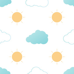 Seamless pattern with clouds and sun on a white background. Vector repeating texture.