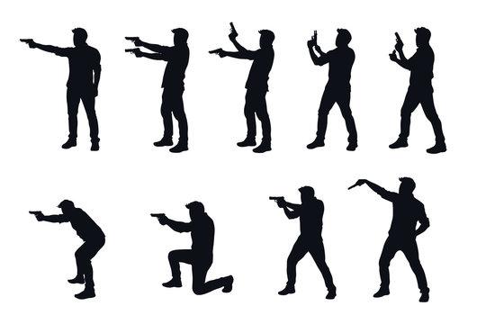 man with gun silhhouette in set