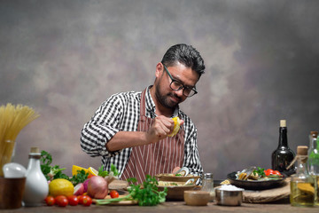 Man cook chef hipster with handsome bearded face