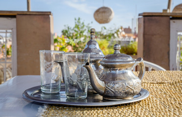 Traditional Moroccan mint tea in Marrakesh, Morocco
