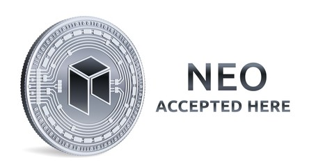 NEO. Accepted sign emblem. Crypto currency. Silver coin with NEO symbol isolated on white background. 3D isometric Physical coin with text Accepted Here. Stock vector illustration.