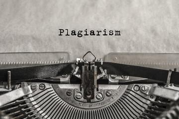 Plagiarism typed on an old typewriter. vintage thing. Copyright. Close-up