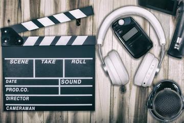 CClapperboard headphones video light metering microphone