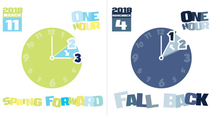 Illustration of Clock Changes in New York, New York, USA