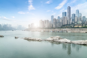 Poster Chicago Urban architectural landscape and skyline in Chongqing