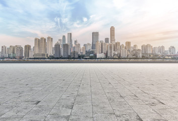 Urban road square and skyline of architectural landscape in Chongqing