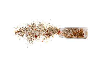 french seasoning. spilled salt and mix of pepper. Isolated on a white background.  top view, flat lay