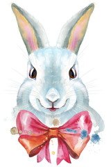 Watercolor illustration of a white rabbit with pink bow