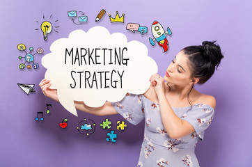 Marketing Strategy with young woman holding a speech bubble