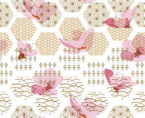 Cherry blossom vector with Japanese pattern seamless. Gold geometric background.