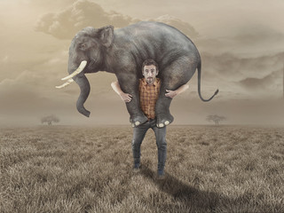 Man takes an elephant back