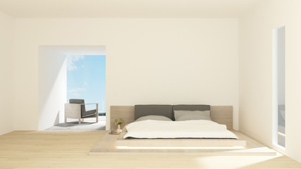 Bedroom and living area in hotel or condominium on sunshine day - Bedroom and sea view in apartment or hotel - 3D Rendering