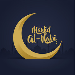 happy Mawlid Al-Nabi calligraphy with mosque and moon