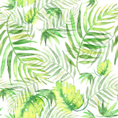 Seamless watercolor background from green tropical leaves, palm leaf, fern, floral pattern. Bright Rapport for Paper, Textile, Wallpaper, design. Tropical leaves watercolor.