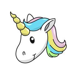 Unicorn head vector illustration on white background. Cute magical cartoon.