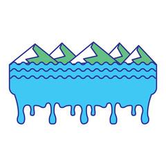 melted landscape mountains water disaster vector illustration blue green design