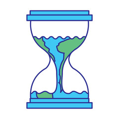 hourglass with a earth globe flowing melting vector illustration blue green design