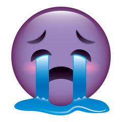 cute purple smile emoticon crying vector illustration